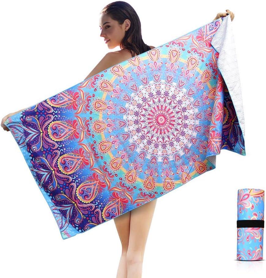 AtailorBird Toalla de Playa de Microfibra, 150 * 75cm Toalla de Piscina Grande Mandala Esterilla de Yoga, Seque Rápidamente, Absorbente,Prevención de Arena para Viaje, Picnic(Patrón 1)