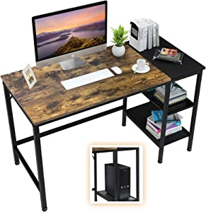 "Computer Desk with Storage Shelves, 47"" Home Office Writing Study Laptop Table with Grid Drawer and Splice Board, Modern Industrial Style, Wood and Metal Frame"