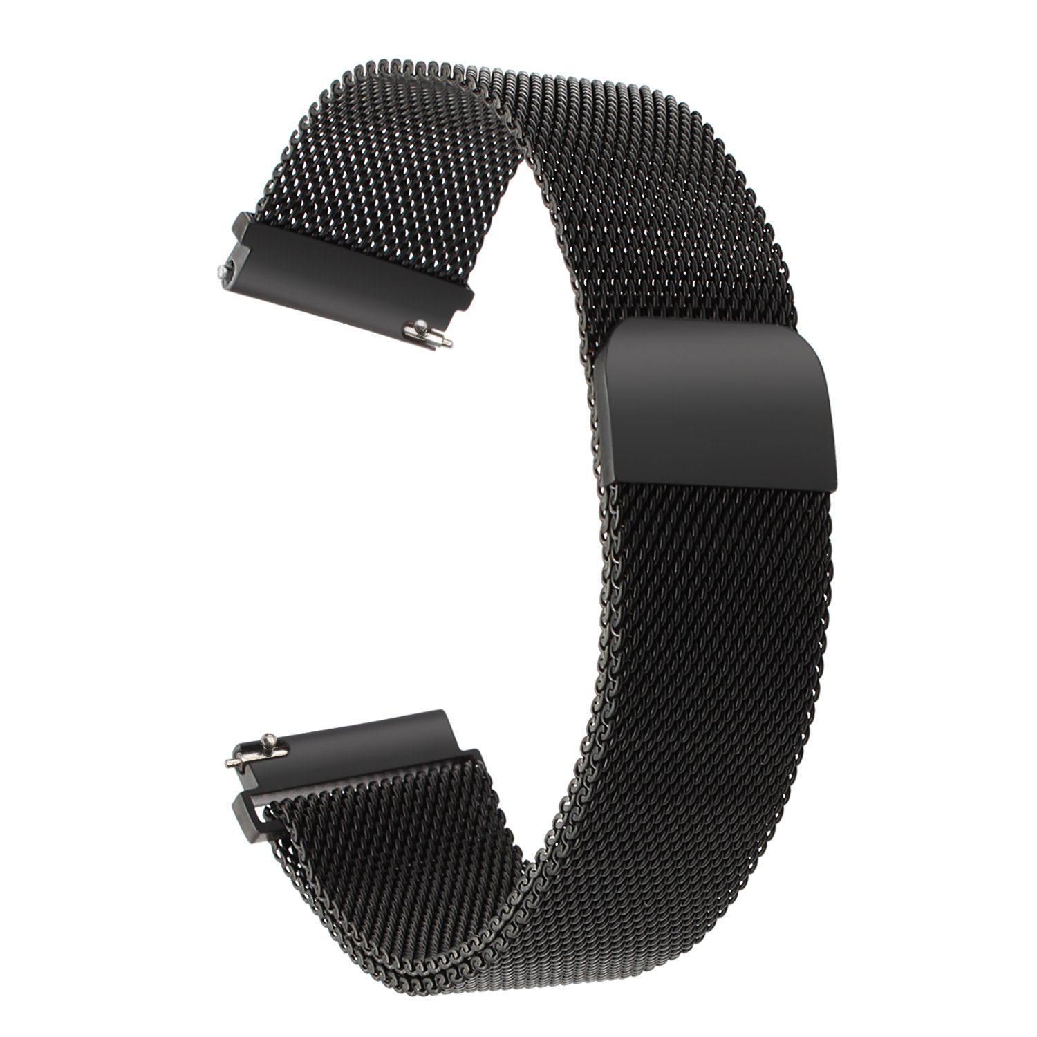 For LG Watch Style Watch Band, TRUMiRR 18mm Milanese Loop Watchband Mesh Stainless Steel Strap Quick Release Magnetic Wrist Bracelet for LG Watch Style Band Smart Watch, Black by TRUMiRR
