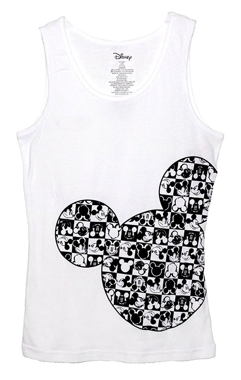 Disney Classic Mickey Mouse Junior Pajama T Shirt Tank Top - Checker Silhouette S