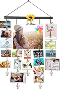 Olakee Hanging Photo Display, DIY Picture Photo Frame Collage Set Includes Wood Clips, Natural Wood, Golden Chain with Crystal Pendant 16×29 inch Black