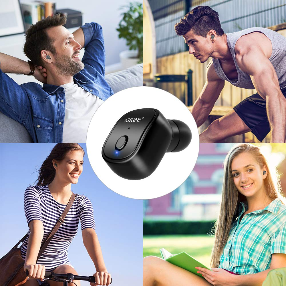 Single In-Ear Invisible Earpiece Wireless Headphone with Magnetic USB Charger Support Siri Voice Control Compatible for IOS and Android Phones-10 Hours Playtime Mini Bluetooth Earbud