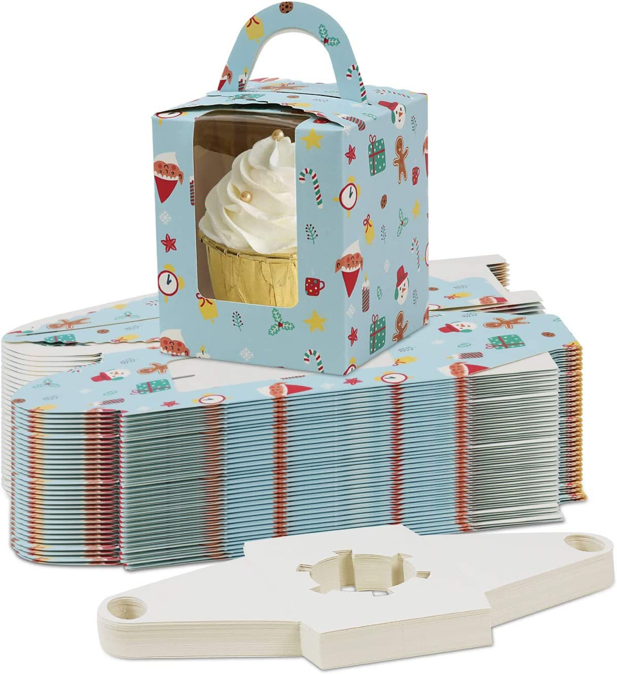 Christmas Cupcake Containers Single Paper Cupcake Box Cupcake Carrier Cupcake Bakery Boxes Portable Individual Gift Muffin Cupcake Box Small Cake Box with Window Handle Insert 50Pcs