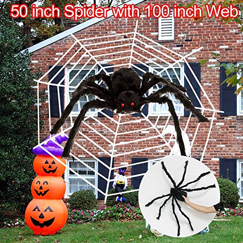 Halloween Spider Decoration, Calans Scary Giant 50 In Halloween Spider with 100 In Web Best halloween decorations