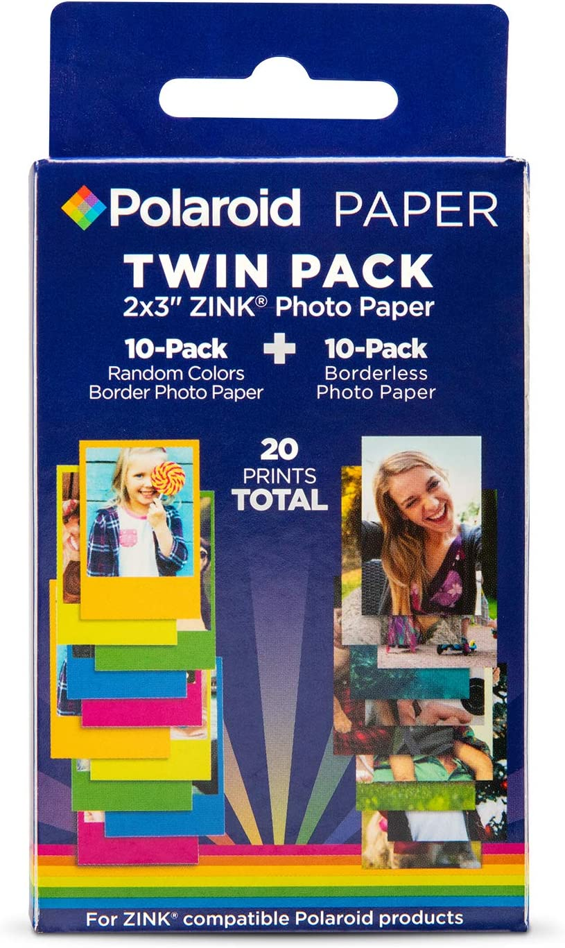 Polaroid 2x3 Zink Photo Paper 10 Borderles Sheets + 10 Color Border Sheets (20 Sheets) for Zink Compatible Products.