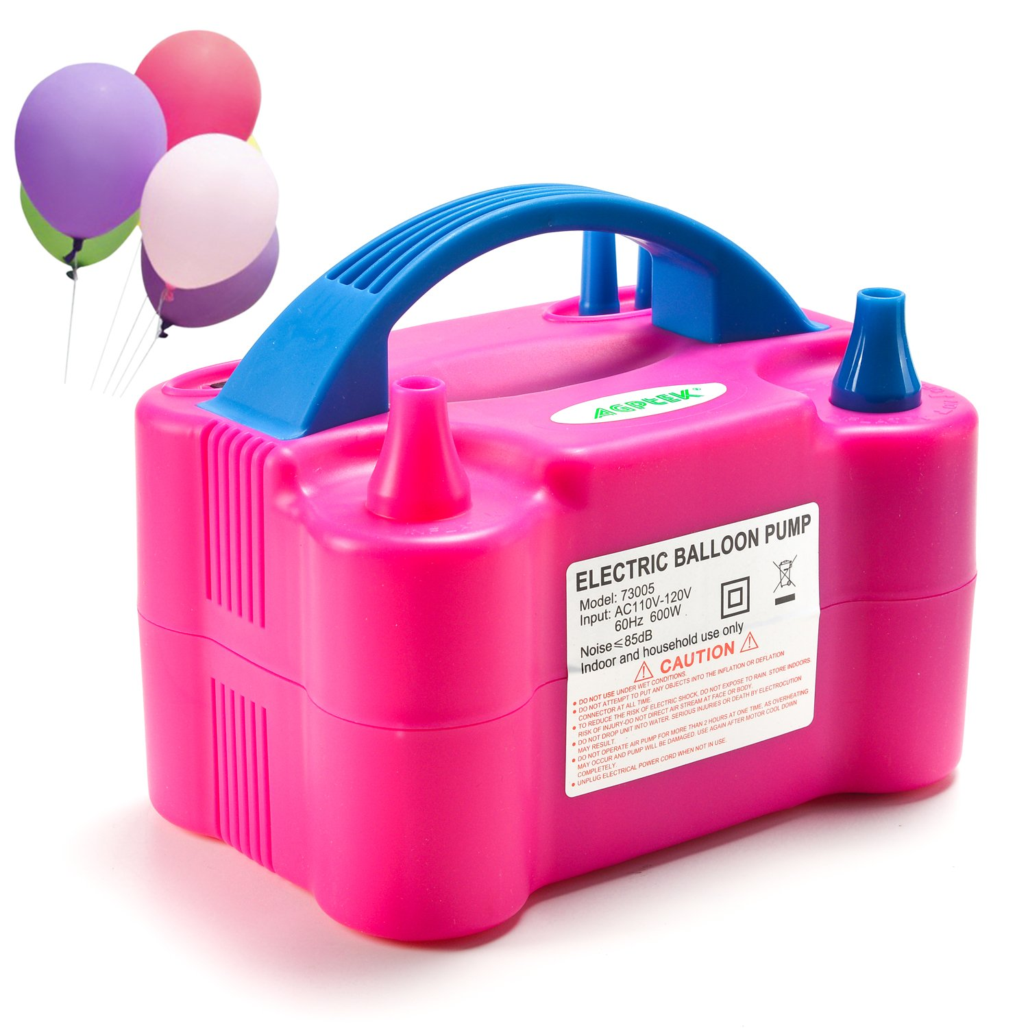 AGPTEK Electric Air Balloon Pump, 110V 600W Rose Red Portable Dual Nozzle Inflator/Blower for Party Decoration MamBate