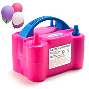 AGPTEK Electric Air Balloon Pump, 110V 600W Portable Dual Nozzle Inflator/Blower for Party Decoration, 20 x 15 x 12 (cm)