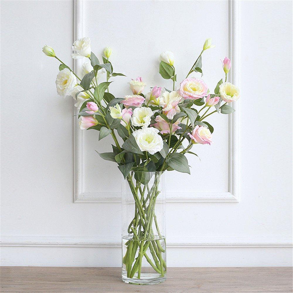 ヨーロピアンスタイル10個入りPlatycodon Artifical花ガラス花瓶スーツリビングルームホーム装飾シルクシミュレーション花 8960640457270 B073WPWXG9 Pink+White