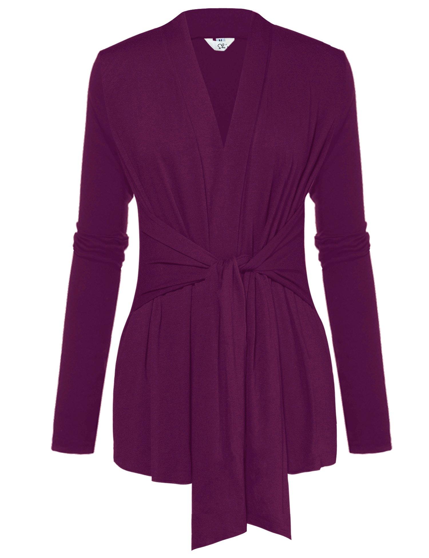 A Blues Man Womens Casual Long Sleeve Open Front Drape Wrap Travel Cardigan Sweater Purple M
