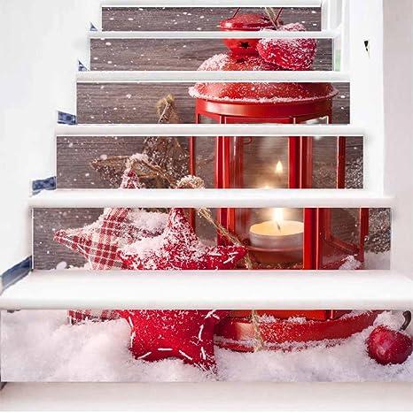 Adornos De Escalera 3D De La Decoración De La Casa De Navidad Pegatinas HD Pegatinas De Pared Extraíble Para Pegar 100 Cm * 18 Cm * 6 Unids: Amazon.es: Hogar