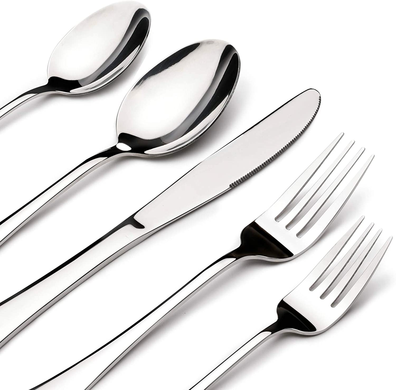 Acnusik Stainless Steel Flatware Service for 8, Utensils Cutlery Including Knife 40-Piece Silverware Set, Silver