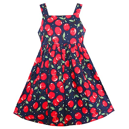 c6c3669c0 Amazon.com  Shybobbi Fashion Flower Girls Dress Cherry Fruit Cotton ...