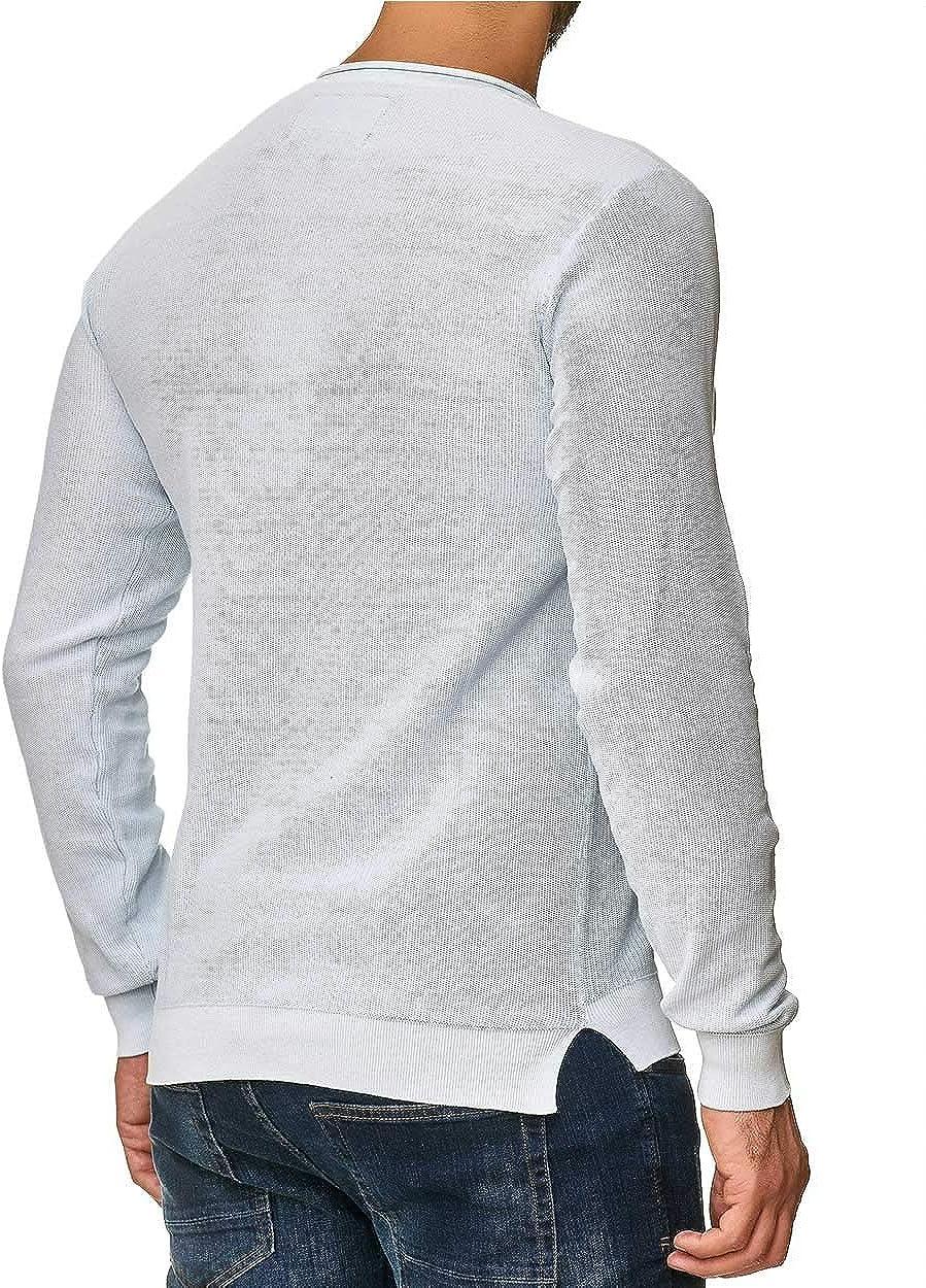 Indicode Lower Maglione da uomo in maglia fine con bottoni sul colletto