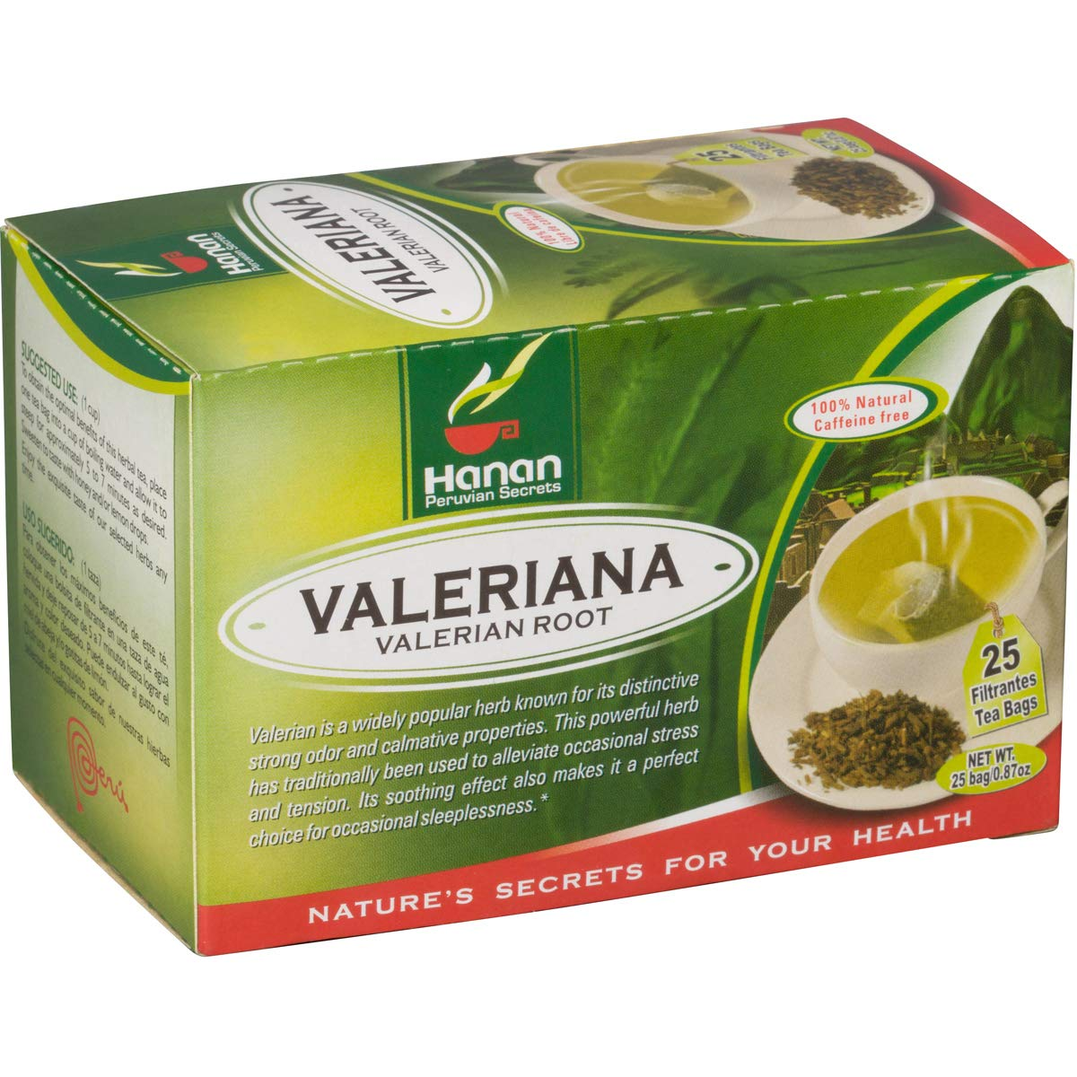 "Valerian Root Tea - 25 Teabags - Peruvian Naturals | Natural Sedative and Sleep Aid, ""Valeriana"" Herbal Tea"