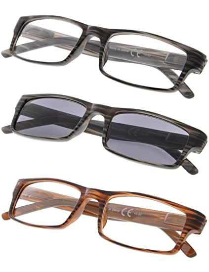 8b8699749da Amazon.com  3-pack Striped Reading Glasses with Spring Hinge Includes Sun  Readers +0.50  Clothing