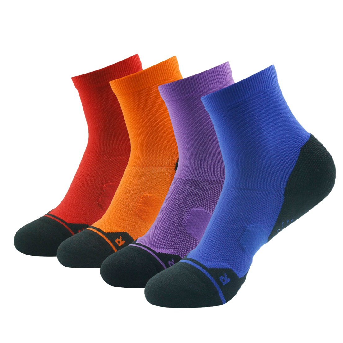 4 Pair Purple&orange&navy bluee&red Running Socks Support, HUSO Men Women High Performance Arch Compression Cushioned Quarter Socks 1,2,3,4,6 Pairs