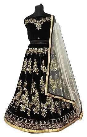 4c1f6fb490 Amazon.com: PAKINDI FASHION Indian Pakistani Lehenga Choli Ready to Bridal  Wedding Party wear Designer Lengha Beautiful Embroiderd (Black): Clothing