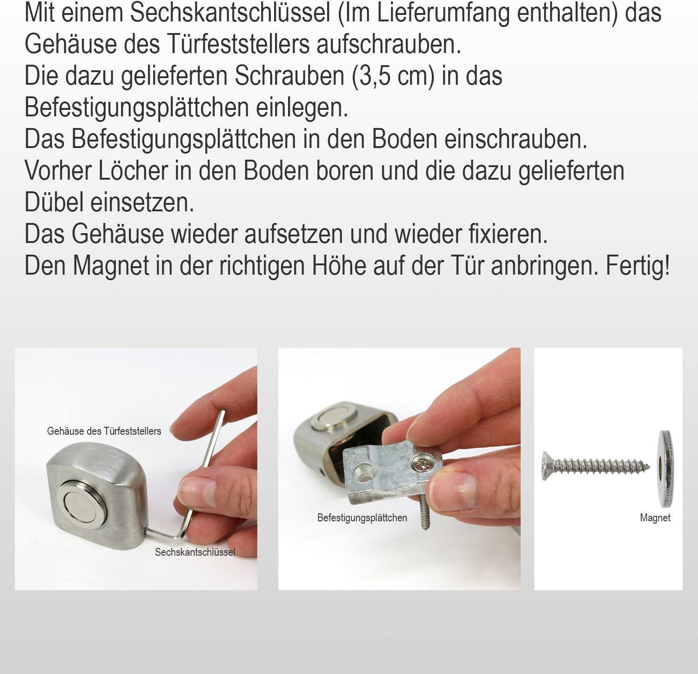 Aimant au Plancher Zinc satin/é - 02 pi/èces com-four/® 2X Bloc darr/êt de Porte en Alliage de Zinc 4,5 x 3 x 3,7 cm