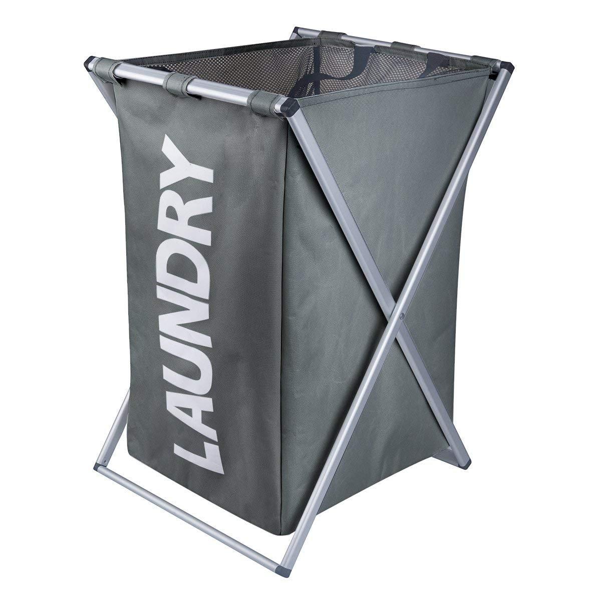 WOWLIVE X-Frame Laundry Hamper Laundry Basket Aluminum Frame Durable Dirty Clothes Bag Bathroom Bedroom Home