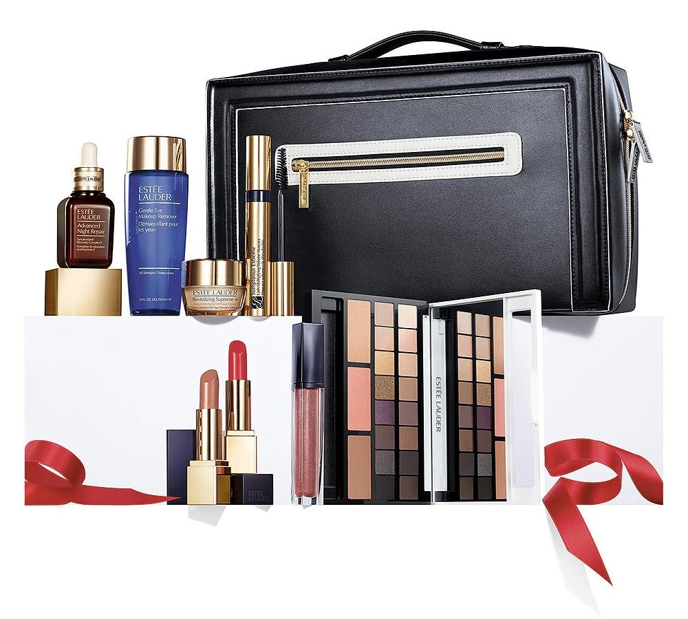 Estee Lauder Blockbuster Holiday Make Up Gift Set w/Train Case -Smoky Noir