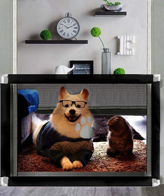Nifogo Barrera Seguridad Escalera Red de Seguridad Puertas de Seguridad Protector Seguro para Perros y Niños, Magic Gate para Bebe, Gato y Mascota, 100 * 80cm (A-Negro): Amazon.es: Productos para mascotas