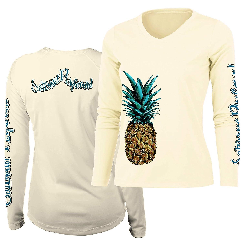 Ladies V-Neck Pineapple Saltwater Playground Performance Shirt