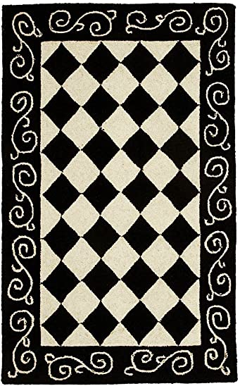 Safavieh Chelsea Collection HK711A Hand-Hooked Black and Ivory Premium Wool Area Rug 1 8 x 2 6
