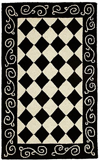 Safavieh Chelsea Collection HK711A Hand-Hooked Black and Ivory Premium Wool Area Rug 2 6 x 4