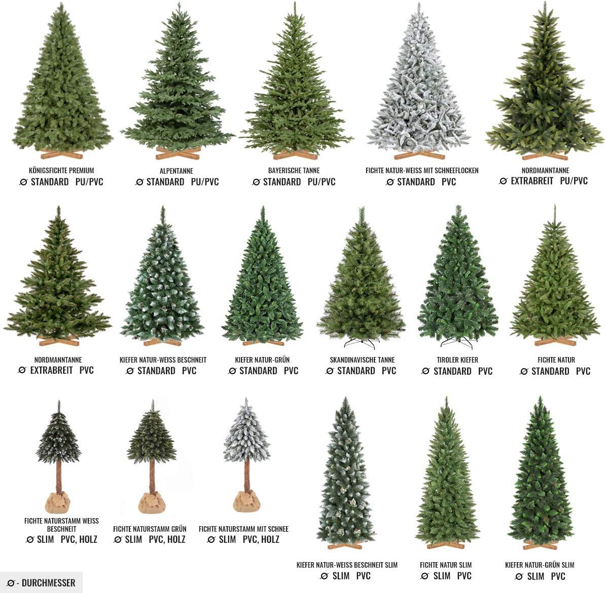 FairyTrees /Árbol de Navidad Artificial Pino 250cm pi/ñas verdaderas Material PVC FT04-250 Natural Blanco nevado Soporte de Madera