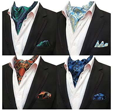 236bcb59d235 Men's 4-Pack Floral Geometric Cravat Ascot Scarf Ties Neckties Pocket  Square Set