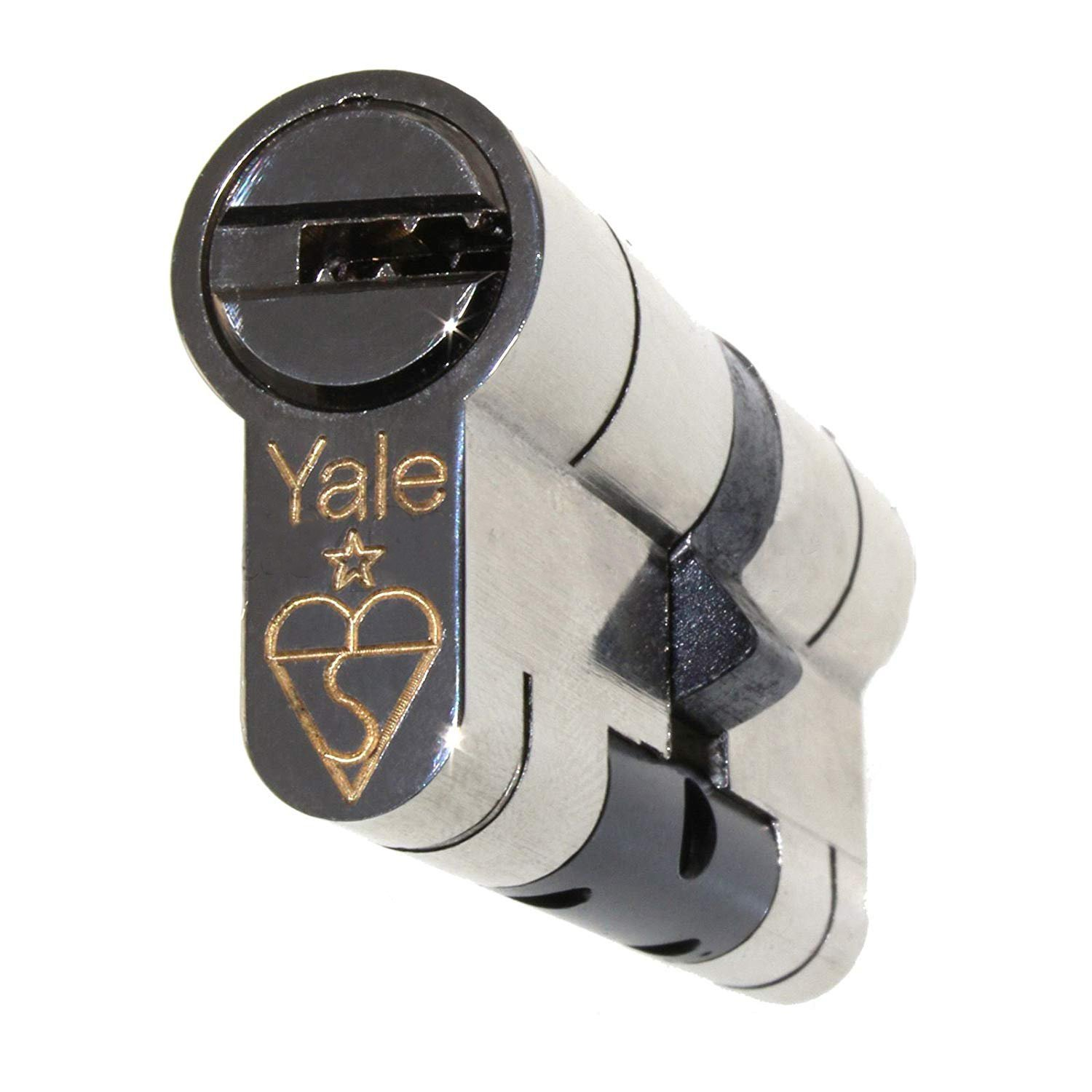 40/40 Nickel YALE Superior Euro Cylinder with 3 Keys Anti Snap / Bump / Pick / Drill / Pull High Security uPVC Composite Door Barrel Profile Lock by Yale