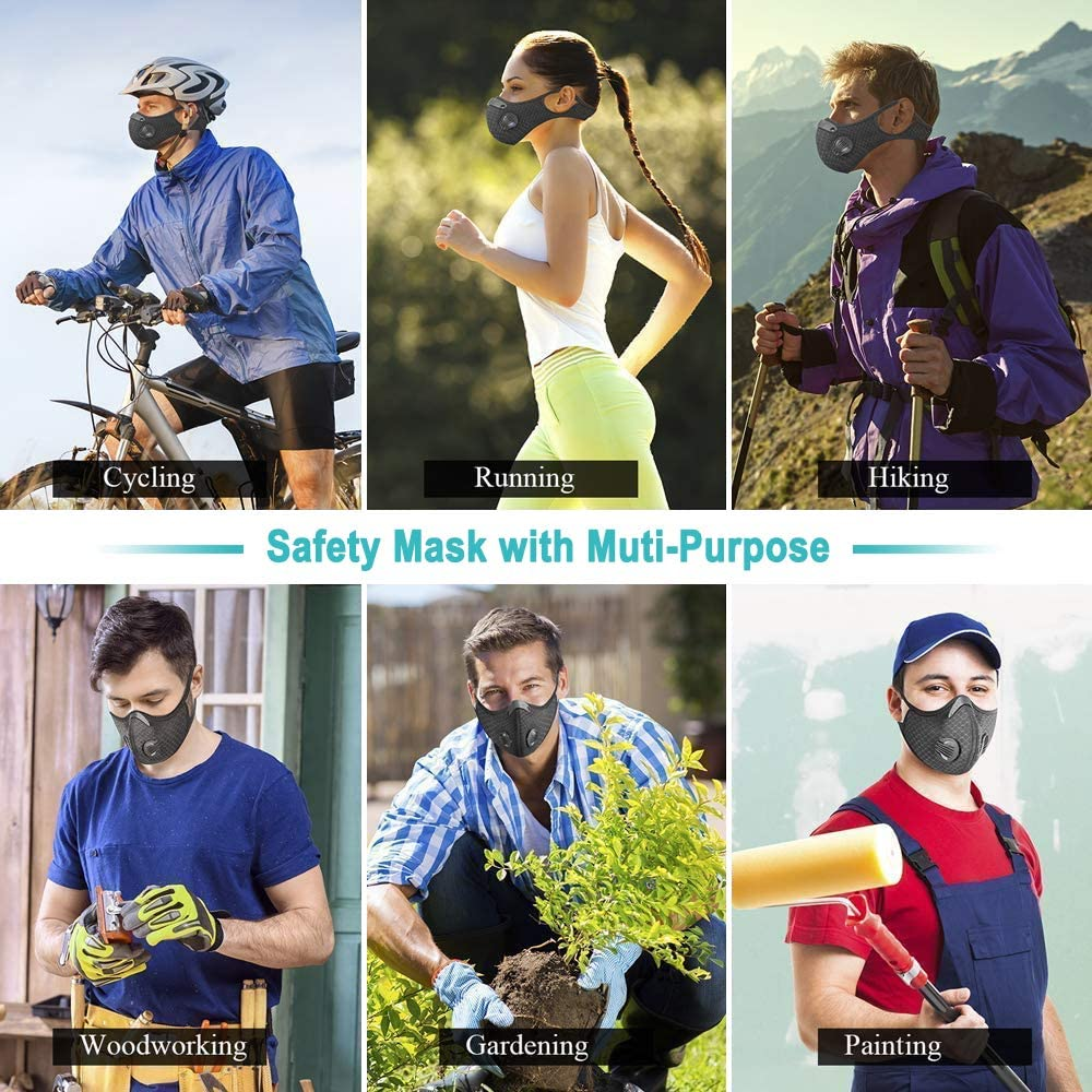 Washable Cycling Face Covering Reusable with 4 Pcs Filters Breathable with Filter Vents-from USA Adjustable Ear Loop