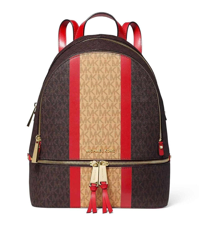 ca027ba52166 Amazon.com | MICHAEL Michael Kors Rhea Zip Medium Backpack (Brown/Bright  Red Stripe) | Casual Daypacks