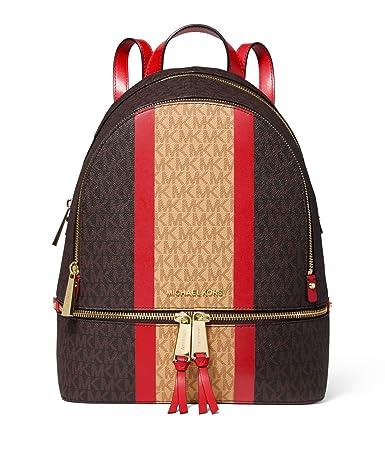 c10dc8bedef4 Amazon.com   MICHAEL Michael Kors Rhea Zip Medium Backpack (Brown/Bright  Red Stripe)   Casual Daypacks