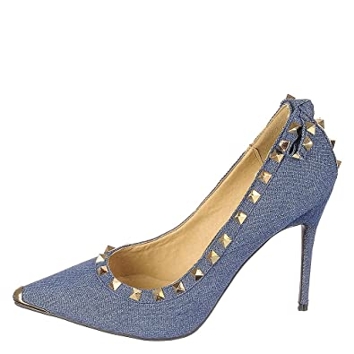 Amazon.com | Shiekh Women's Studded Denim High Heel Mandi-07 Dress ...