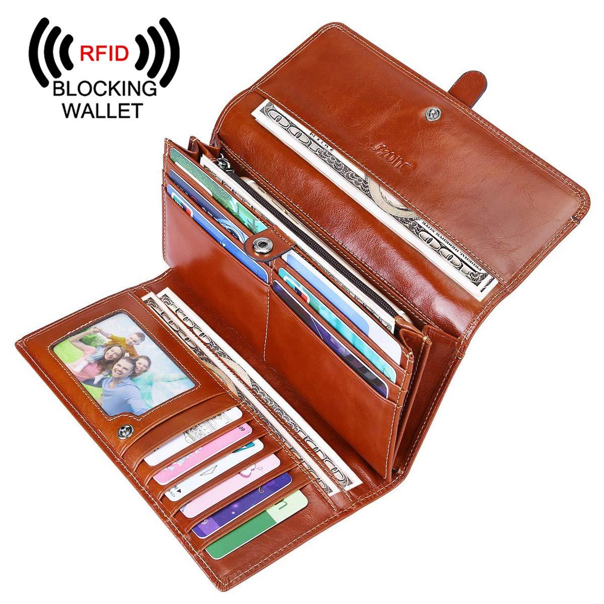 S-ZONE Women's Genuine Leather Long Organizer Tri-fold Wallet Clutch Purse (Maroon) by S-ZONE (Image #1)