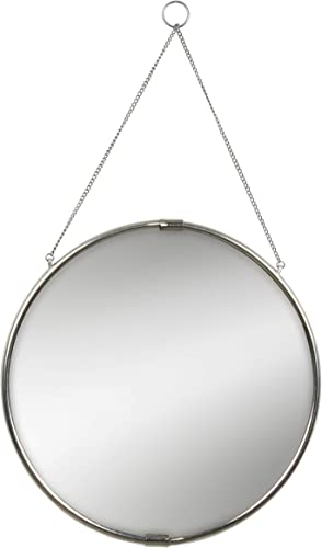 Kate and Laurel Brea Reclaimed Metal Round Silver Mirror with Hanging Chain, 20.5 inch Diameter