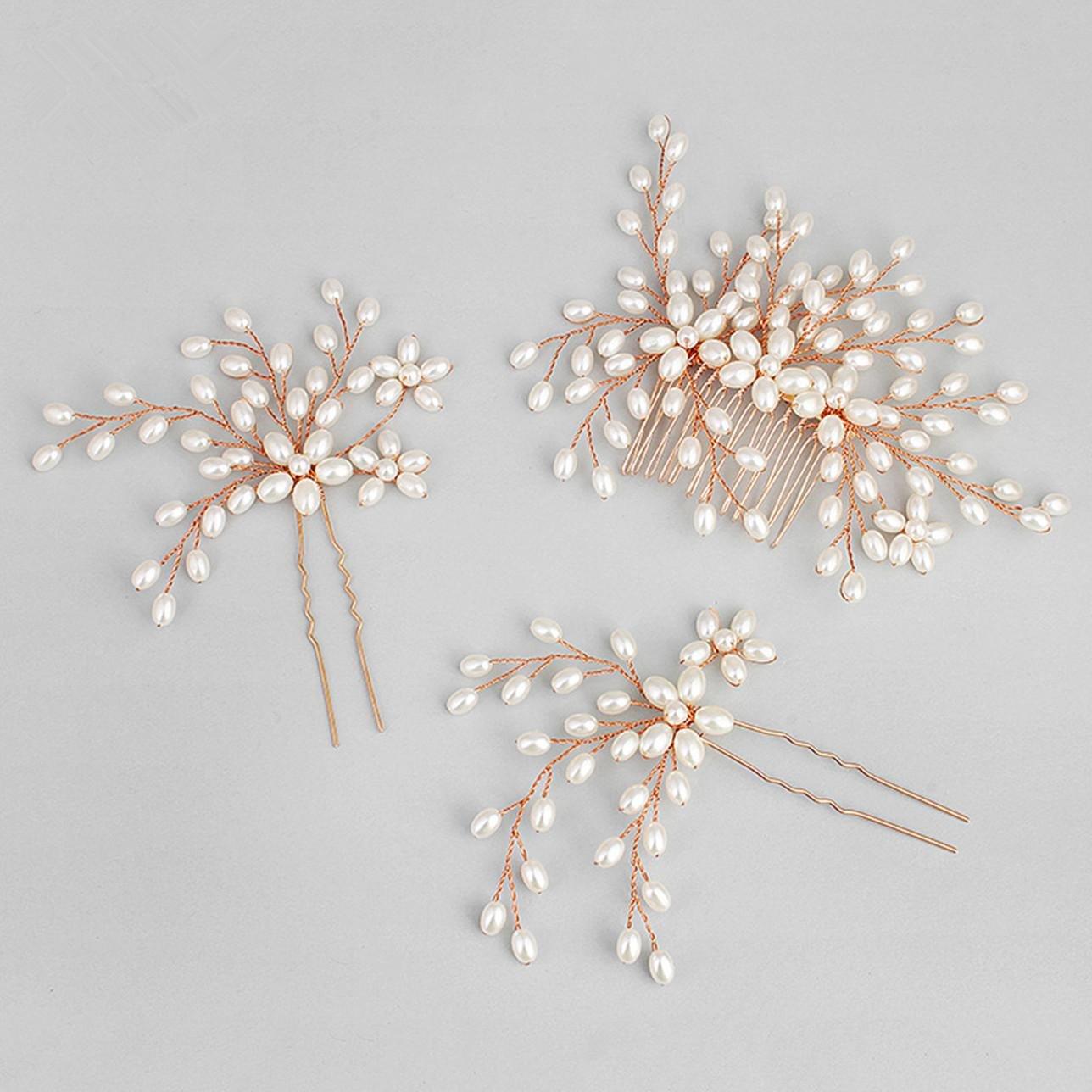 QQA Mari/éE Peigne /ÉPingle /à Cheveux Pearl Peignoir Mariage Alliage Coiffe Photographie Tirer Ornements De Cheveux silver