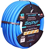 "Zephyr Next-gen Garden Hose (1/2"" x 50ft, Ultra-Light Flexible Rubber, No Fittings), Blue"