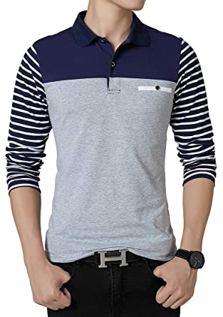 ed9173009 FRTCV Mens Polo Shirts Casual Long Sleeve Stripe Slim Fit Shirt US XS Asian  L
