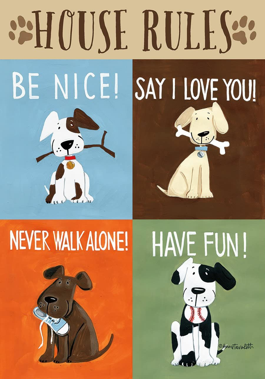 "Briarwood Lane House Rules Dog Garden Flag Humor Puppy Pet Manners 12.5"" x 18"""
