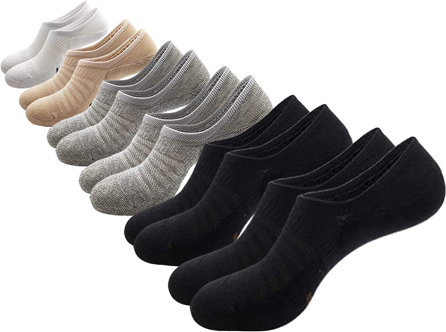 PEACE OF FOOT No Show Socks Cushion Cotton Atheletic Non Slip 6Pairs