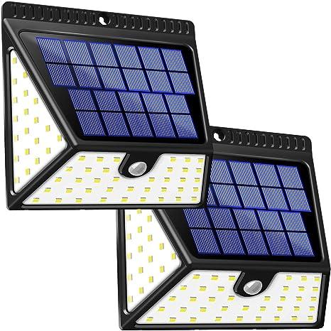 BAXiA 1640LM 2600mAh Focos Solares LED para Exteriores, Luces Solares con Sensor de Movimiento de