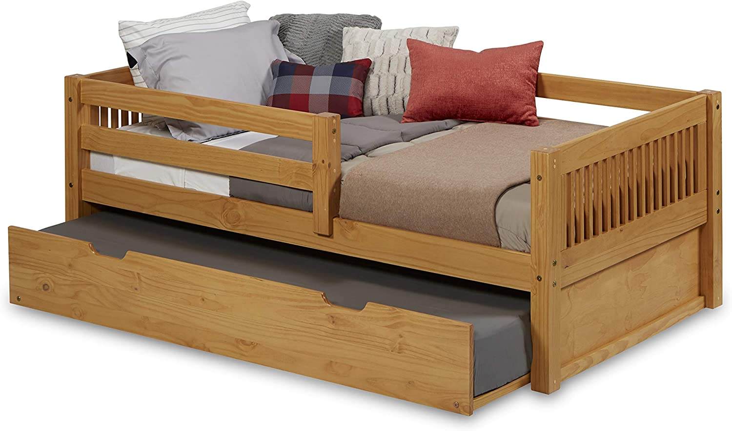 Camaflexi Mission Style Solid Wood Day Bed with Trundle and Front Rail Guard, Twin, Natural