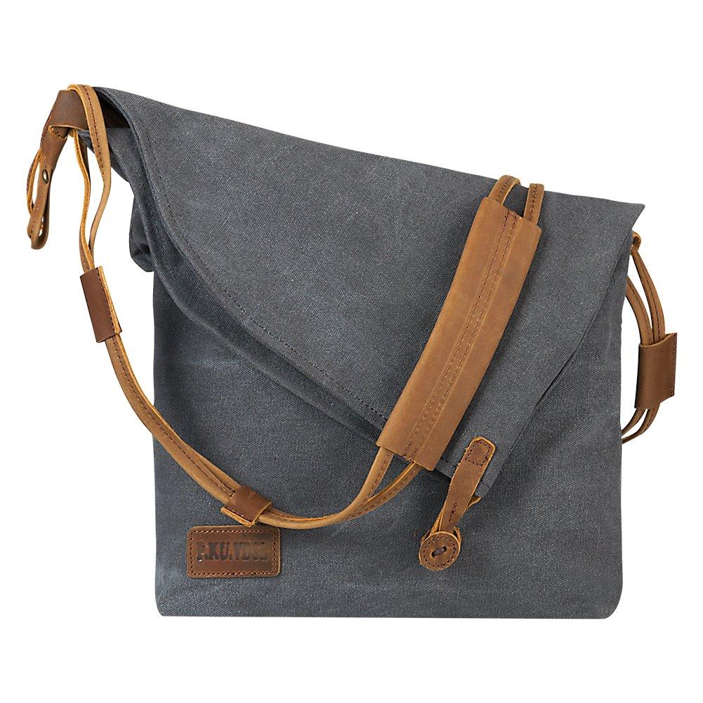 P.KU.VDSL Women Crossbody Bag, Canvas Hobo Bag, Vintage Messenger Bag Shoulder Satchel (A-Grey-Upgrade) by P.KU.VDSL