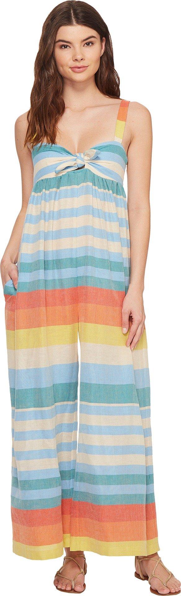 Mara Hoffman Women's Equator Stripe Tie Front Jumpsuit Cover up, Cream Multi, S