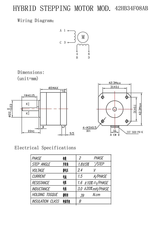 qunqi nema17 stepper motor bipolar 4 leads 40mm 1 5a 39ncm qunqi nema17 stepper motor bipolar 4 leads 40mm 1 5a 39ncm amazon com