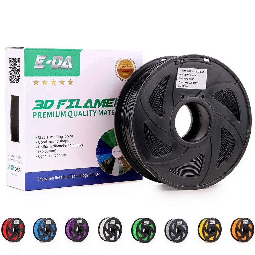 Black E-DA Premium quality ABS 3D printer filament 1.75mm 1KG//2.2lbs suitable for Most 3D printers
