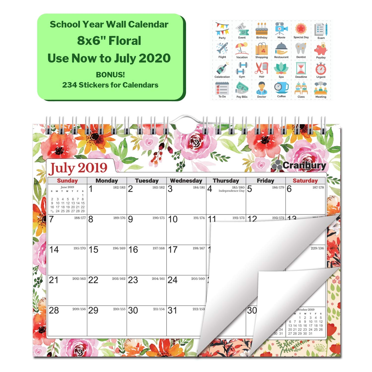 Small School Year Wall Calendar 2019-2020 (Floral) 8x6 Monthly Calendar with Acid-Free Premium Paper, Use to July 2020, Hanging Bulletin Board Academic Calendar with Stickers for 2019-2020 Calendar