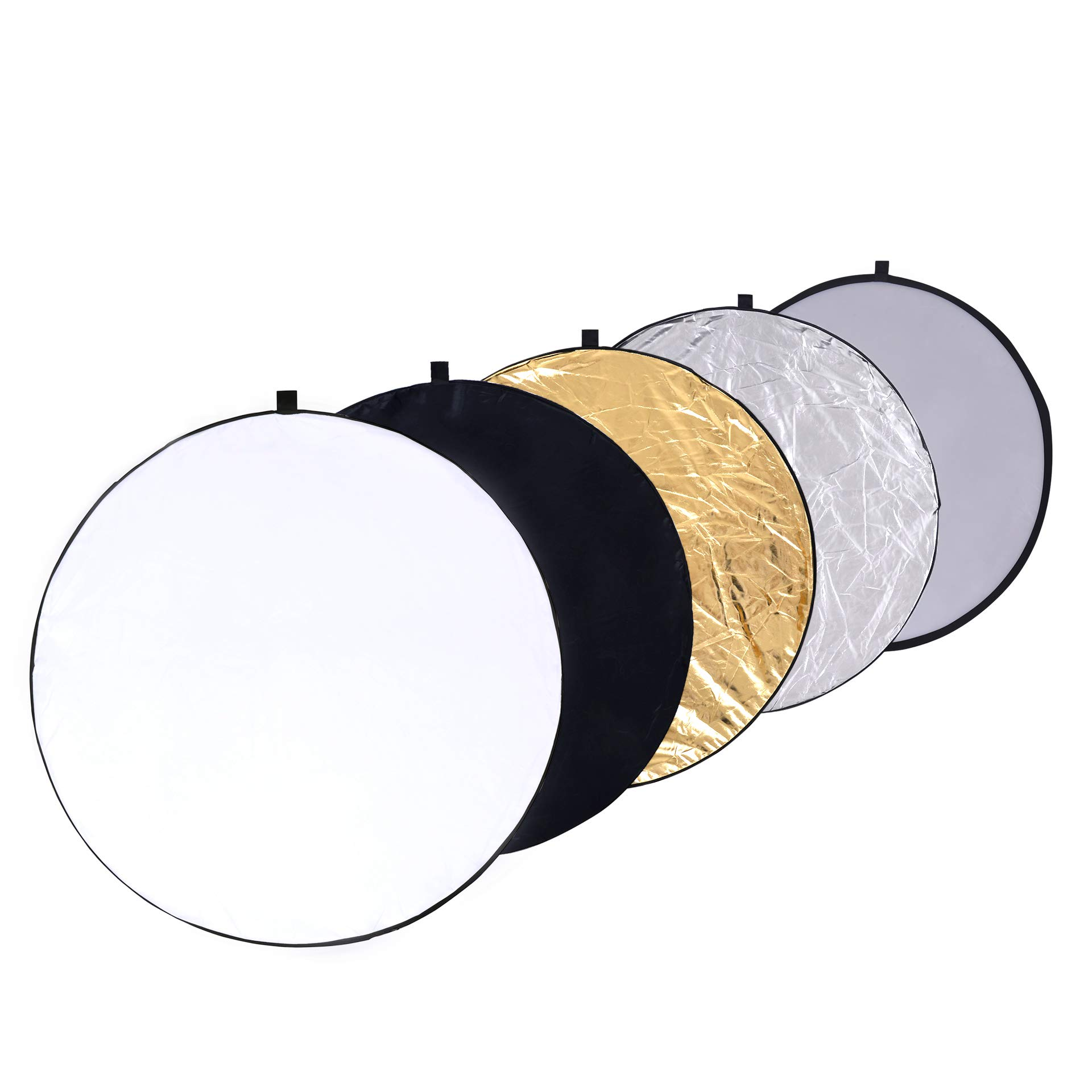 Round 43-inch / 110cm 5-in-1 Portable Collapsible Multi Disc Light Reflector Photography with Bag for Studio or Any Photography Situation-Silver, Gold, White, Translucent and Black